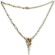 Orange & White Diamond 18k White Gold Cascade Necklace New