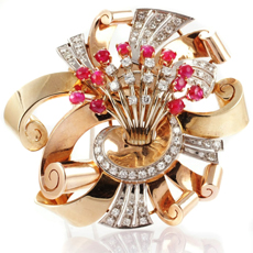 Art-Deco Diamond Ruby 14k Rose Gold Pin Brooch