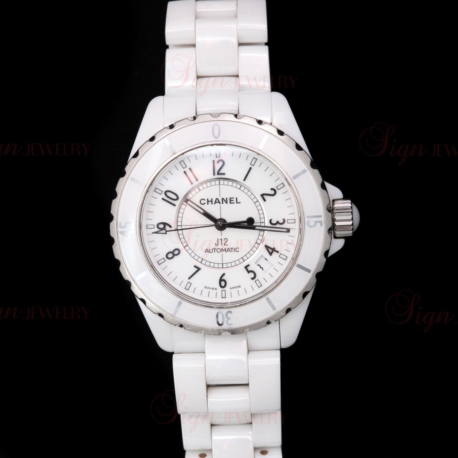 CHANEL J12 White Ceramic Stainless Steel Automatic Women's Sport Watch