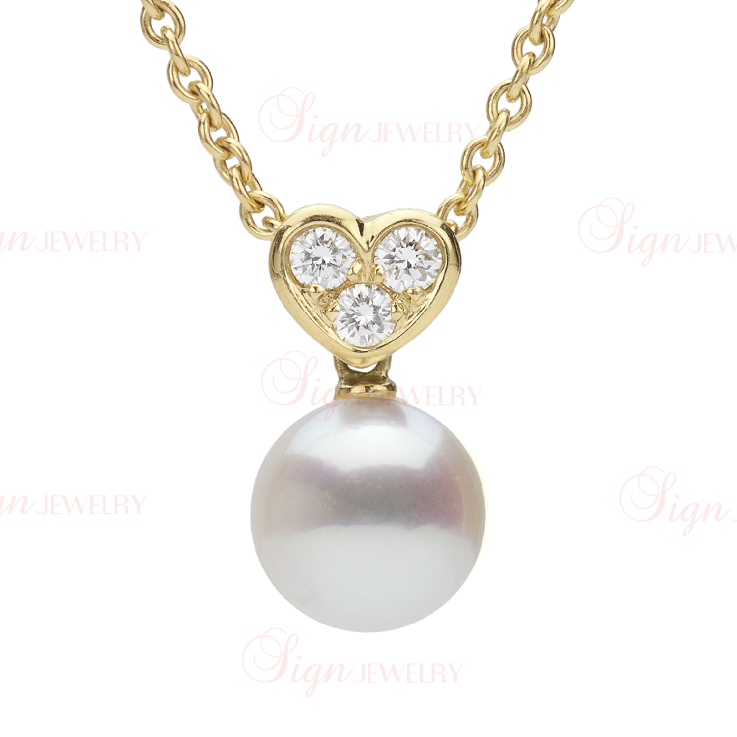 MIKIMOTO Heart Diamond Akoya Pearl Pendant Necklace