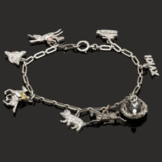 Edwardian Hand-Made Gold Platinum Charm Bracelet