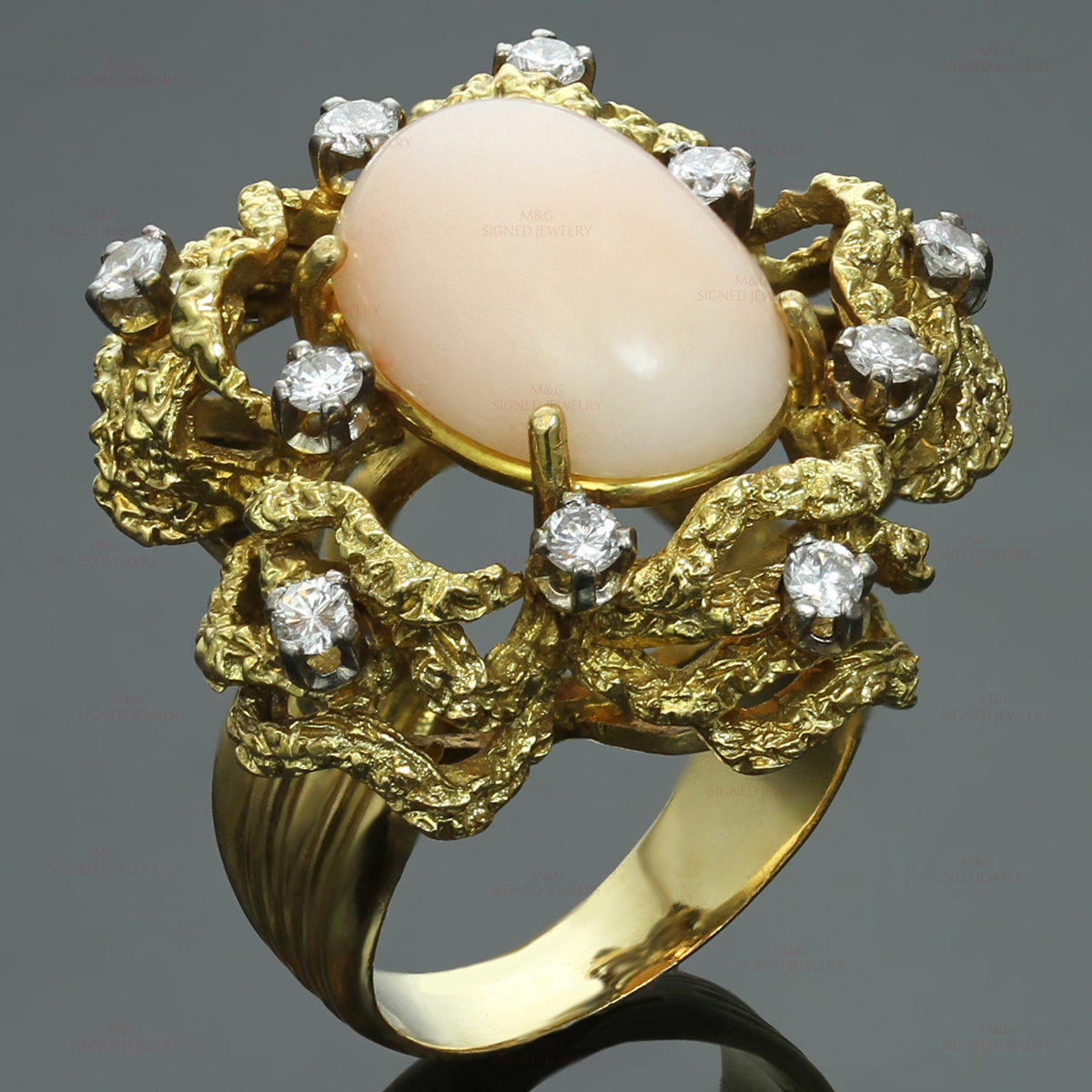 Hand-Made Diamond Angel Skin Coral 18k Yellow Gold Ring