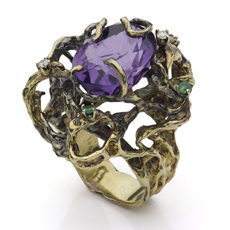 Hand-Made Diamond Amethyst Emerald 14k Yellow Gold Ring