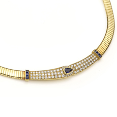 VAN CLEEF & ARPELS Diamond Sapphire Yellow Gold Collar Necklace