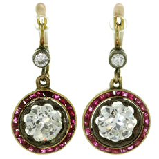 Belle Epoque Diamond Ruby Platinum 18k Yellow Gold Earrings