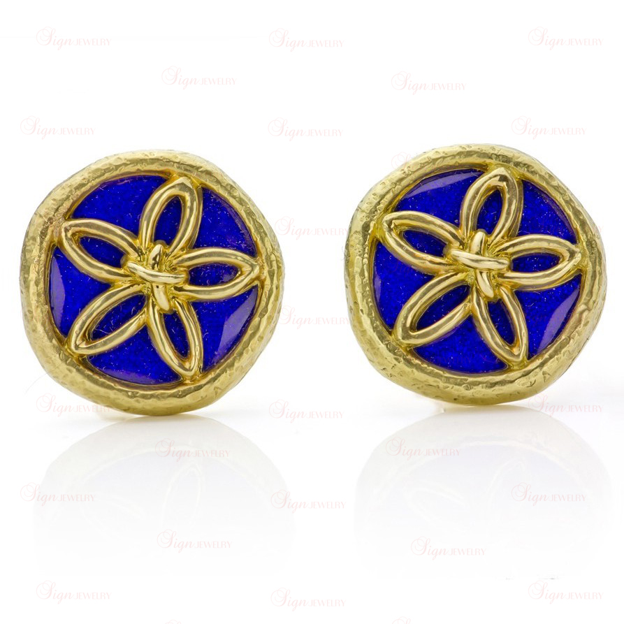 TIFFANY & CO. Schlumberger Blue Enamel Yellow Gold Clip-on Earrings