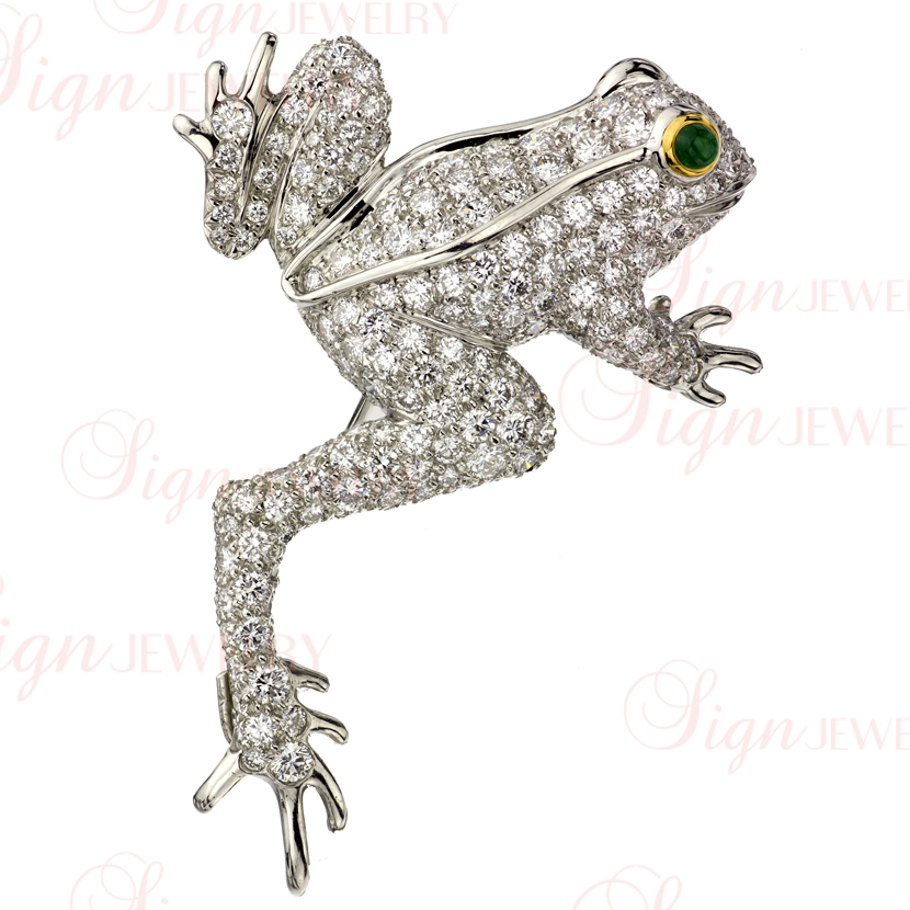TIFFANY & CO. Platinum Gold Diamond Emerald Frog Brooch