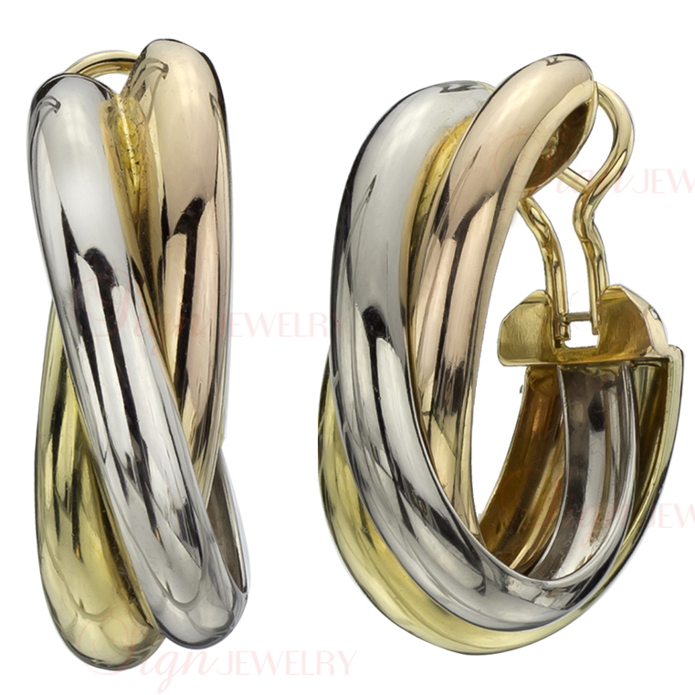CARTIER Vintage Trinity 18k Tri-Gold Extra Large Earrings