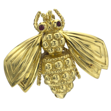 TIFFANY & CO. Bee 18k Yellow Gold Ruby Insect Brooch