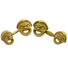 Double-Dided Diamond 18k Yellow Gold Sculpted Lion Cufflinks