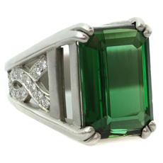 KIESELSTEIN-CORD One-of-a-Kind Green Tourmaline Diamond Platinum Ring