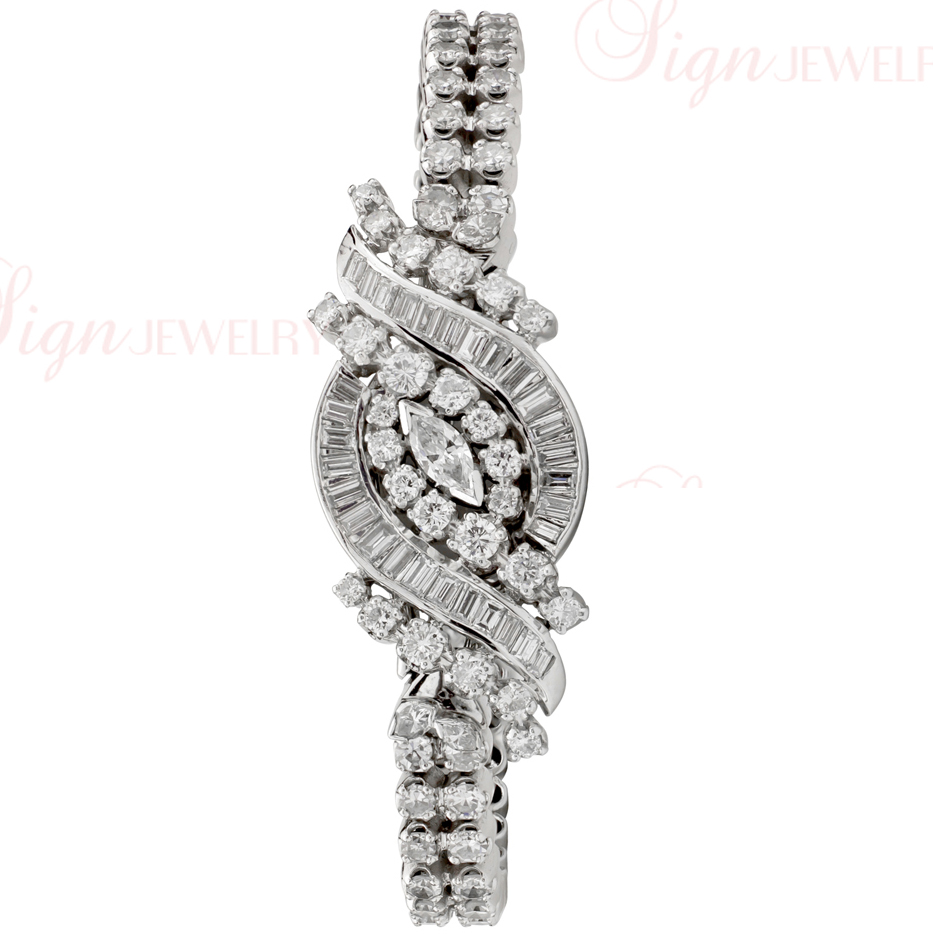 HAMILTON Covered Face 14k White Gold Diamond Women's Watch
