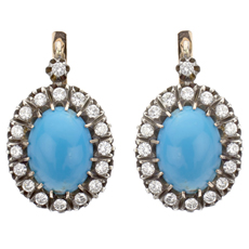 Exquisite Natural Persian Turquoise Diamond Earrings