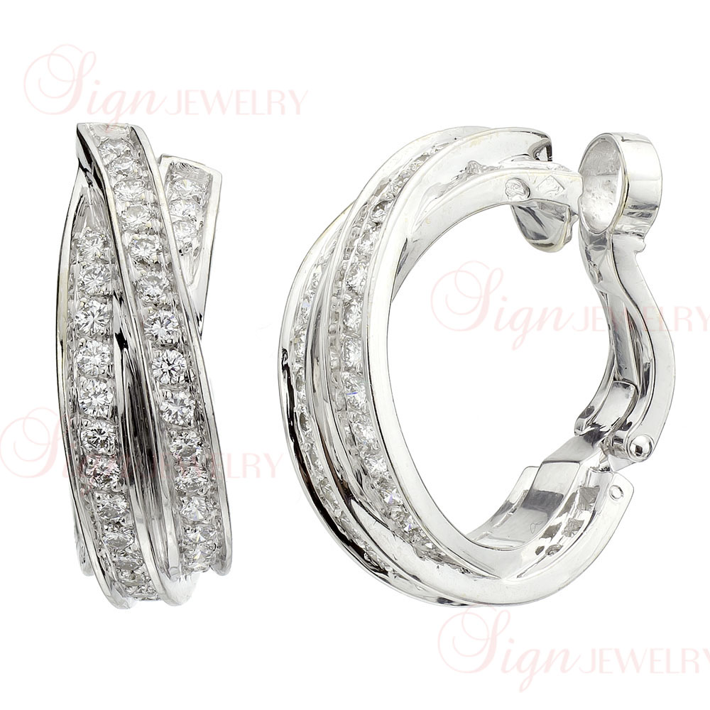 CARTIER Trinity 18k White Gold Diamond Hoop Earrings New