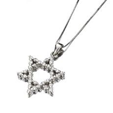 Custom-Made 14k White Gold Diamonds Jewish Star of David Charm Pendant