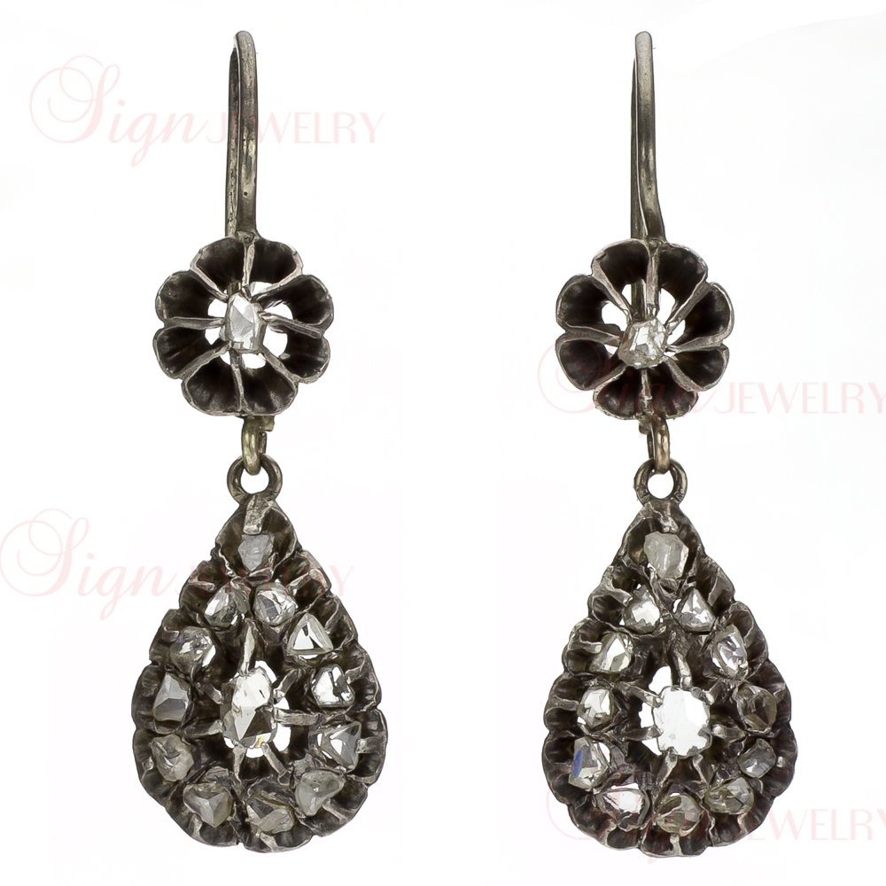 Custom-Made Georgian Antique Silver Rose-Cut Diamond Earrings