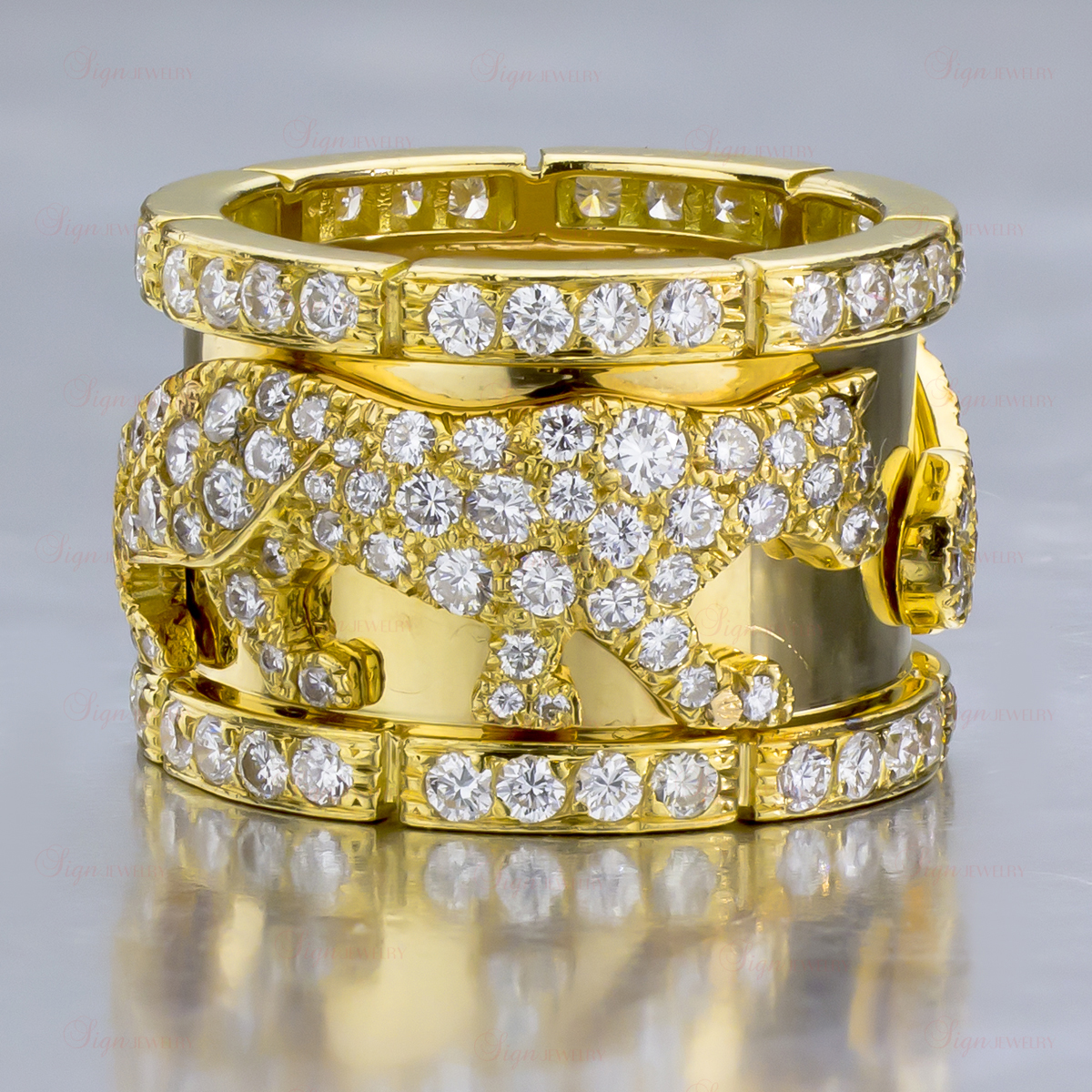 CARTIER Diamond 18k Yellow Gold Panther Ring