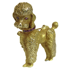 Vintage Retro 14k Yellow Gold Pink Ruby Poodle Dog Pin Brooch