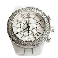CHANEL J12 Chronograph Automatic 41mm White Ceramic Diamond Watch