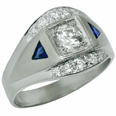 14k White Gold Diamond & Blue Sapphire Men's Ring