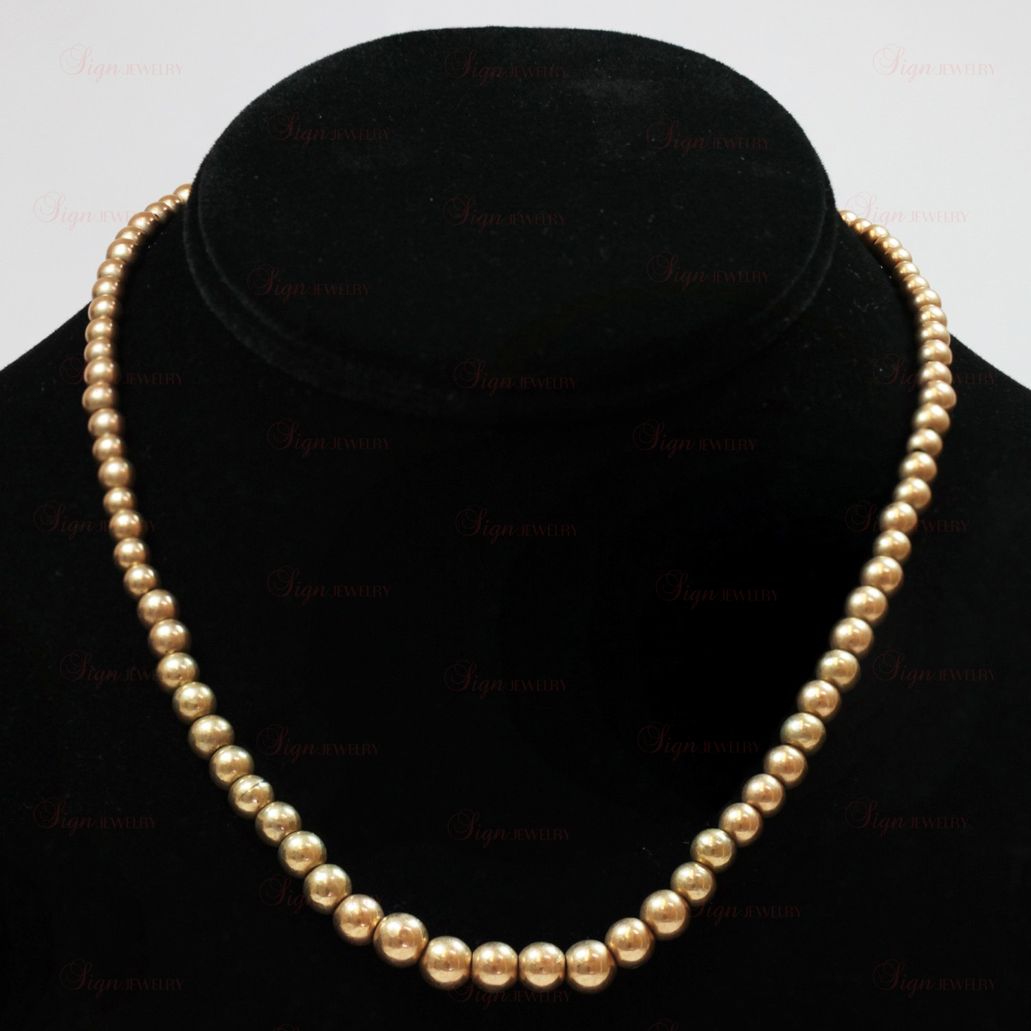 Art Deco 14k Rose Gold Bead Necklace