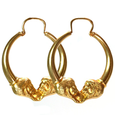 Vintage Retro French 18k Yellow Gold Lion Head Hoop Earrings