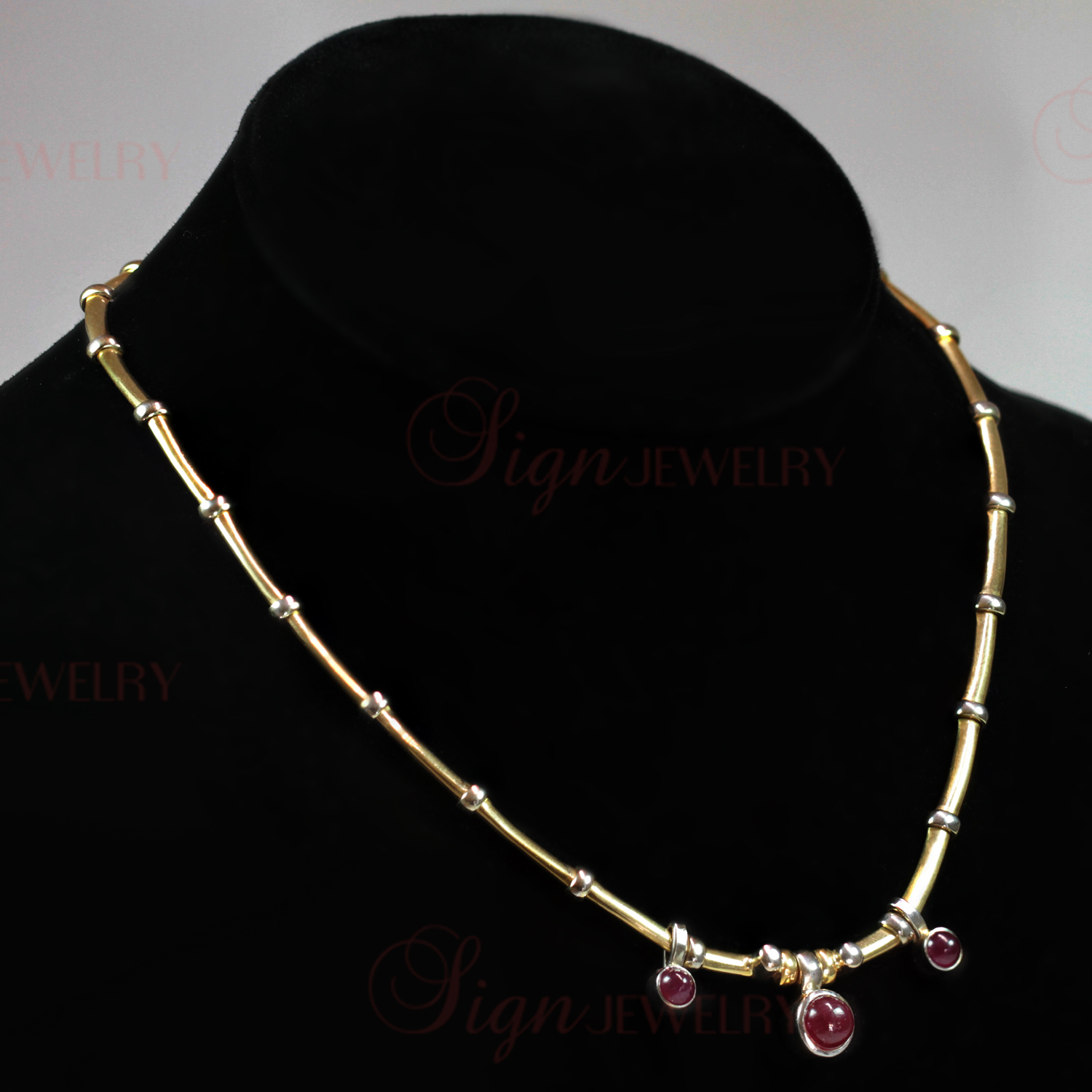 Cabochon Ruby 18k White & Yellow Gold Collar Necklace