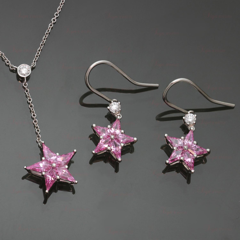 Tiffany Amp Co Pink Sapphire Diamond Platinum Star Earrings