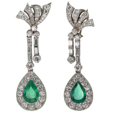 1940s Platinum Diamond Pear Shape Emerald Platinum Drop Earrings GIA