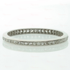 Art Deco Diamond Platinum Eternity Wedding Band Ring