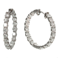 Custom-Made 6.78 Carat Diamond Small 18k White Gold Hoop Earrings
