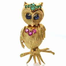 TIFFANY & CO. Retro 18k Yellow Gold Emerald Sapphire Ruby Owl Brooch