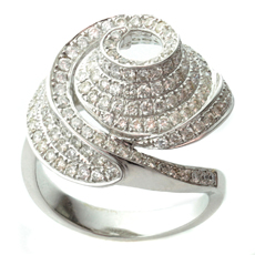 14k White Gold 2 Carat Diamond Swirling Dome Ring