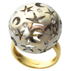 Moon & Star Diamond 18k White & Yellow Gold Filigree Sphere Ring