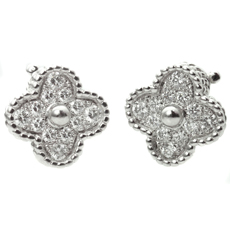 VAN CLEEF & ARPELS Alhambra White Gold Diamond Flower Clip-On Earrings