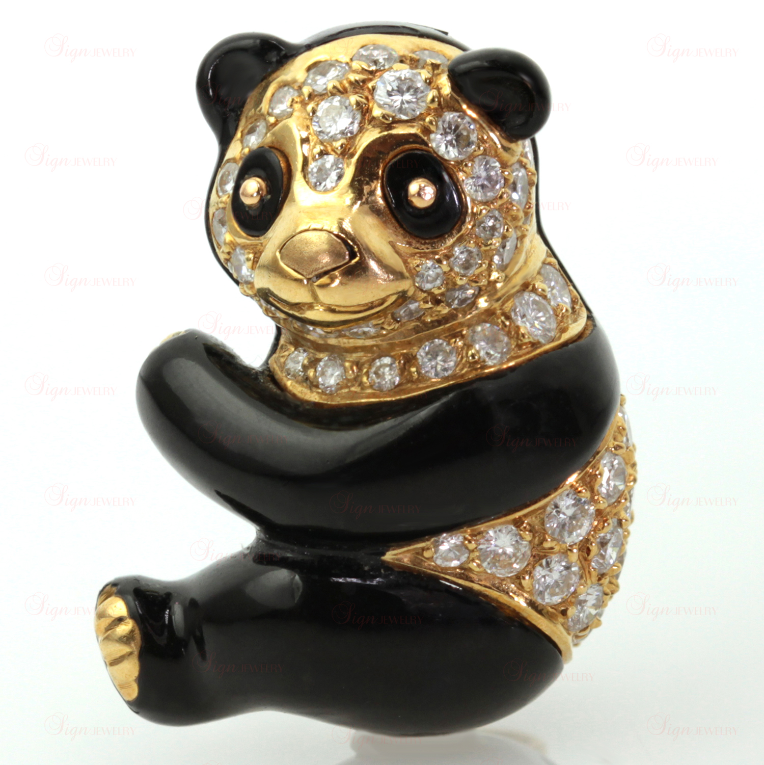 VAN CLEEF & ARPELS Diamond Black Enamel 18k Yellow Gold Panda Bear Pin Brooch