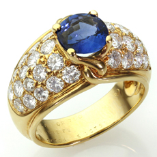 VAN CLEEF & ARPELS Diamond Blue Sapphire 18k Yellow Gold Ring