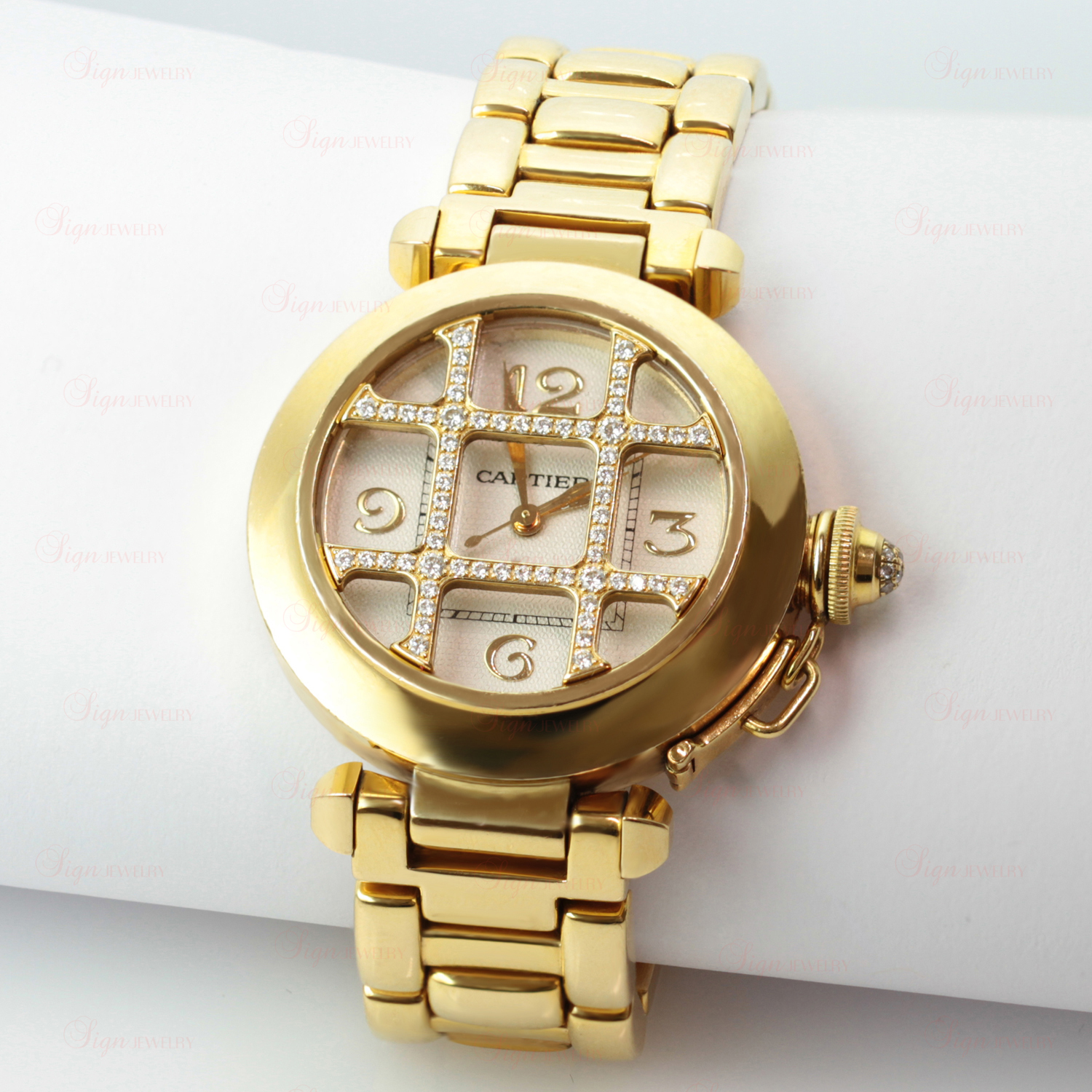 9c6c01c46e5fb CARTIER Pasha 18k Yellow Gold Swiss Quartz Diamond Grid ...