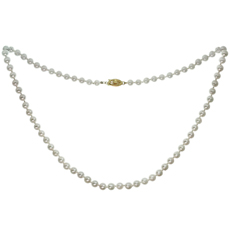 Cultured Pearl Strand 14k Yellow Gold Clasp Necklace