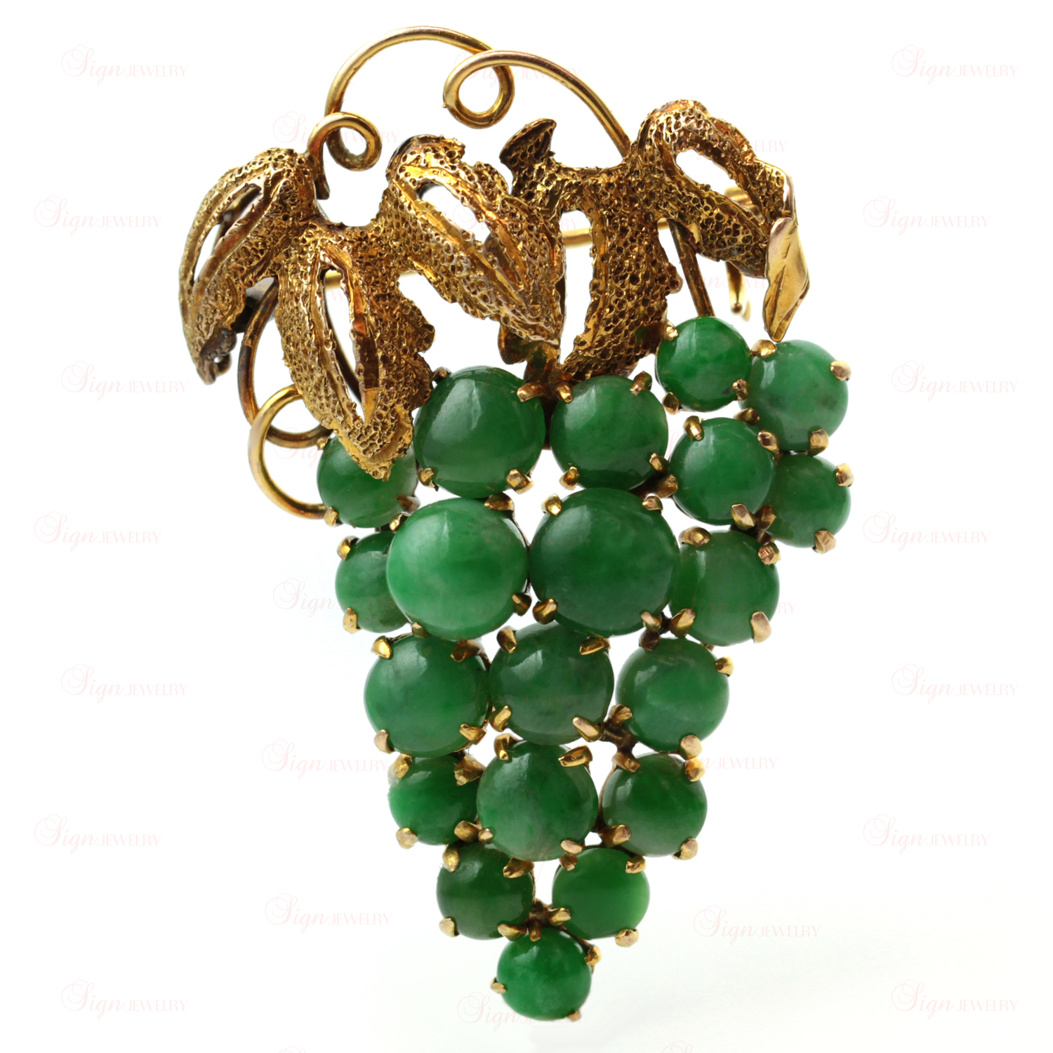 Vintage 14k Yellow Gold Green Jade Bunch of Grapes Brooch
