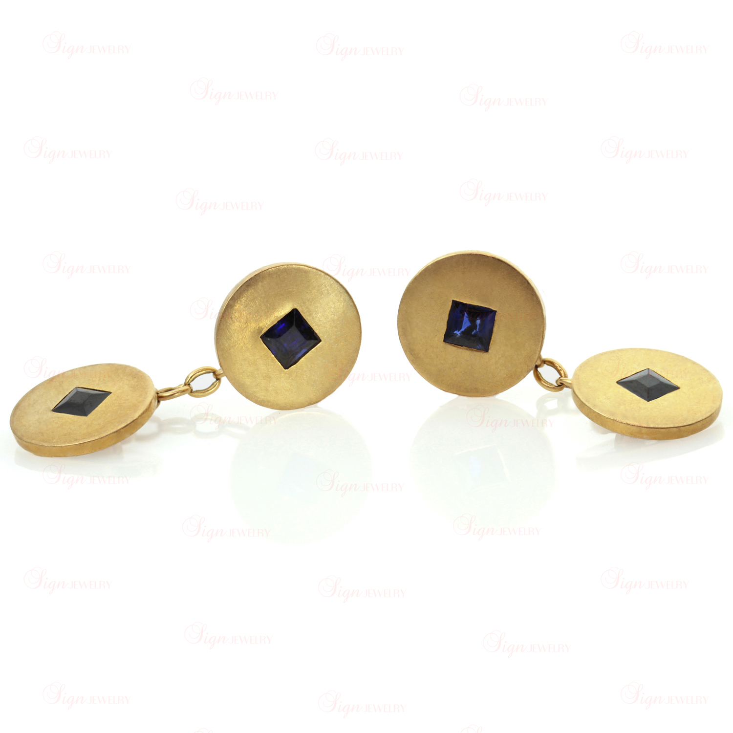 CARTIER Art Deco 18k Yellow Gold Blue Sapphire Cufflinks
