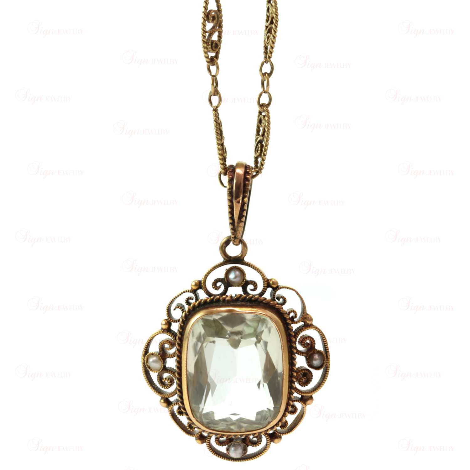 Antique Art Deco Green Aquamarine Yellow Gold  Pendant Necklace