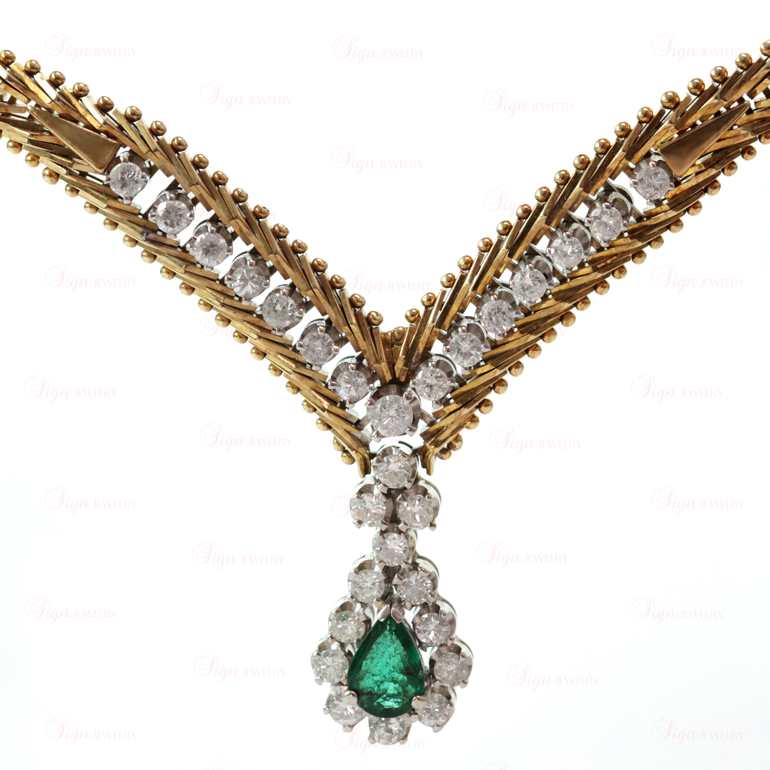 Vintage Retro Two-Tone 14k Gold Green Emerald Diamond Evening Necklace
