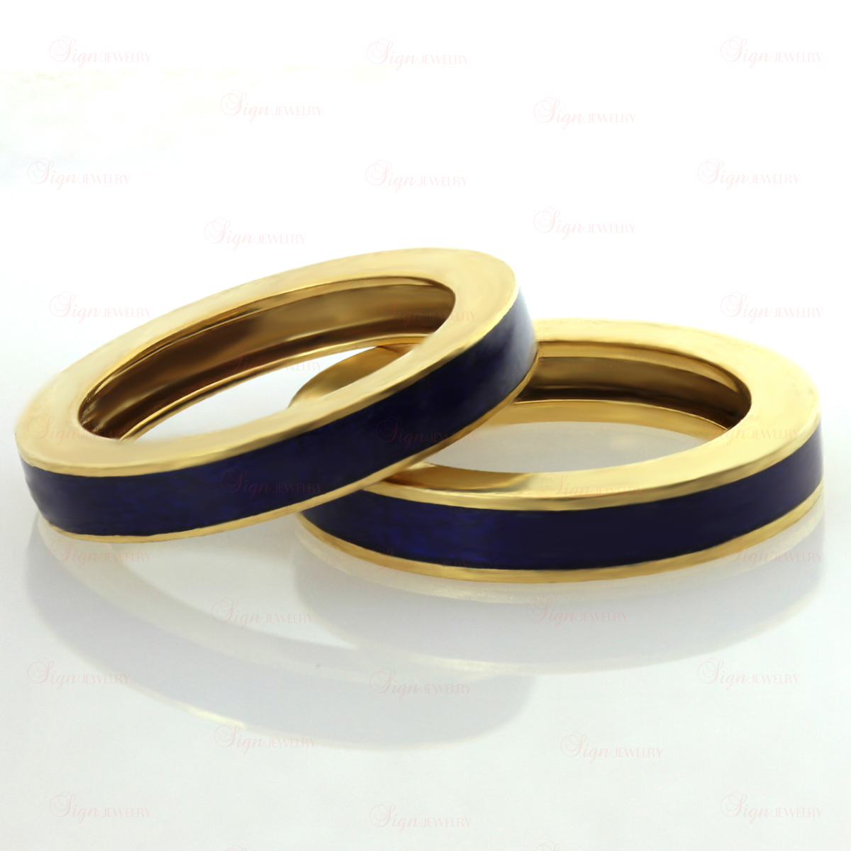 Blue Enamel 18k Yellow Gold Stackable Band Ring Pair