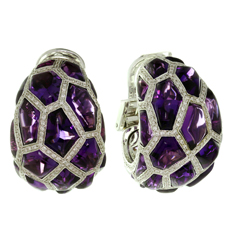 DE GRISOGONO 18k White Gold Cabochon Amethyst Diamond Earrings