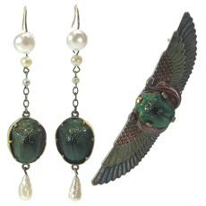Art Nouveau Egyptian Revival Brass Scarab Beetle Brooch & Earrings Set