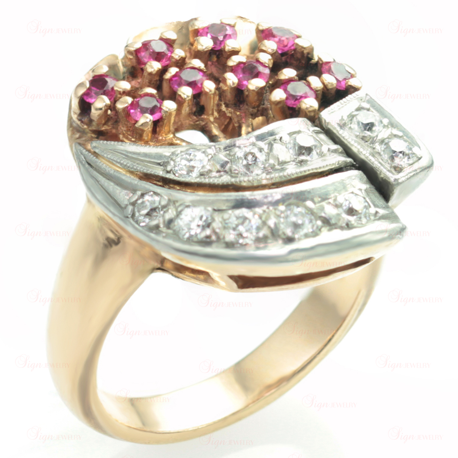 Diamond 14k Rose Gold Platinum Flower Bouquet Ring