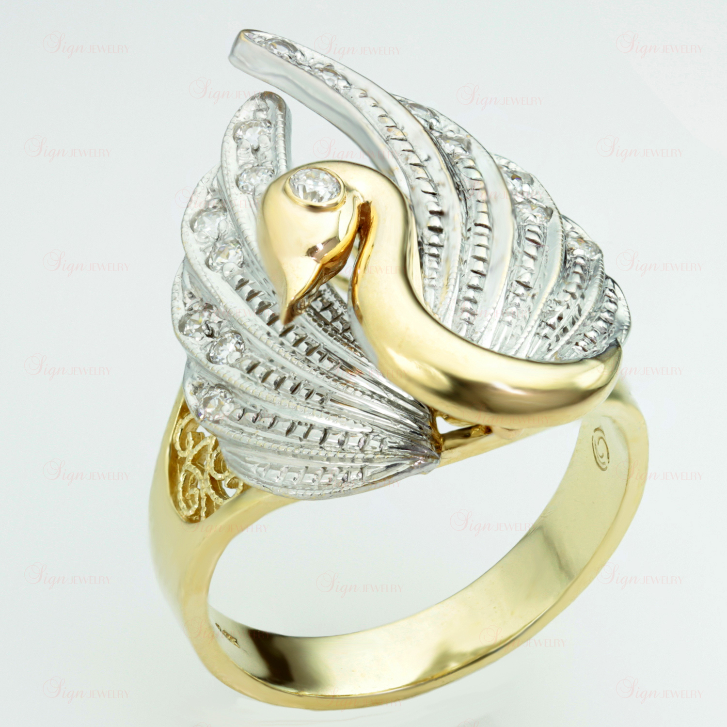 CZ 1Stone 4k Yellow & White Gold Movable Swan Ring