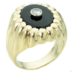 Solitaire Diamond Black Onyx 14k Yellow Gold Mens Ring