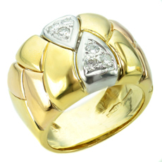Diamond 18k Tri-Gold Band Ring